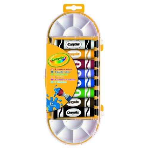 Купить Crayola Темперные краски 8 цветов х 12 мл, с палитрой (7407), Краски