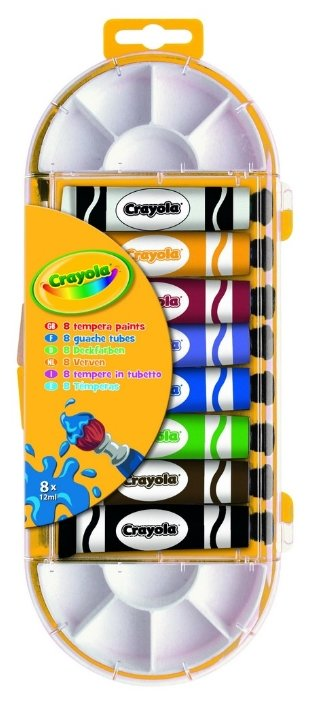 Crayola Темперные краски 8 цветов х 12 мл, с палитрой (7407)