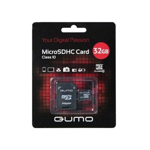 Карта памяти Qumo microSDHC class 10 + SD adapter 32 GB, адаптер на SD