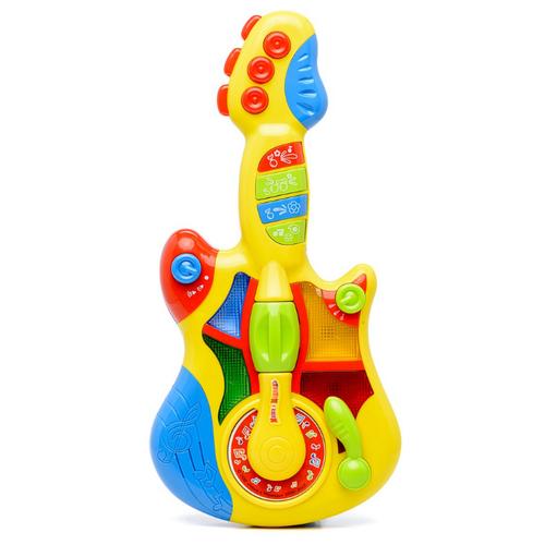 Купить Играем вместе гитара Маша и Медведь (свет, 5 песен) WD3646 желтый/голубой, Детские музыкальные инструменты