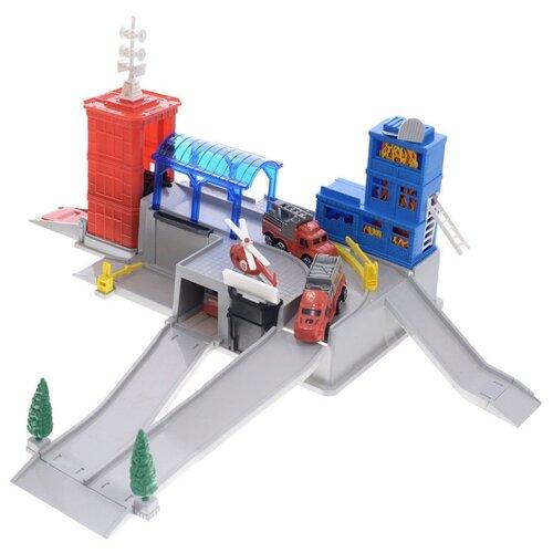 Купить Играем вместе Пожарная станция красный/серый/голубой, Детские парковки и гаражи