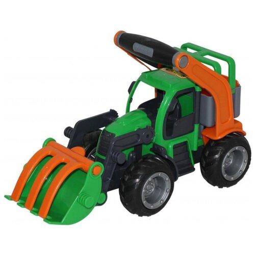 Погрузчик Wader ГрипТрак (48387) 33 см зеленый/оранжевый/черный мусоровоз wader гриптрак 37459 28 5 см
