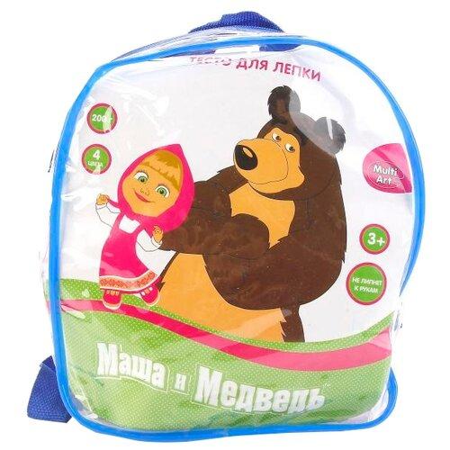 Масса для лепки MultiArt Маша и Медведь 4 цвета 200 г в рюкзаке (450PDAPB-MM)Пластилин и масса для лепки<br>