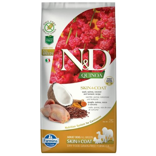 Сухой корм для собак Farmina N&D для здоровья кожи и шерсти, перепелка с киноа 7 кг