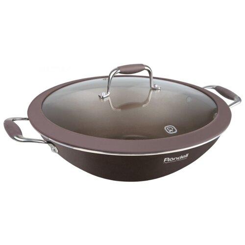 Сковорода-вок Rondell Mocco RDA-552 32 см с крышкой, коричневый 1142 rda вок casual 28 8 0 см rondell