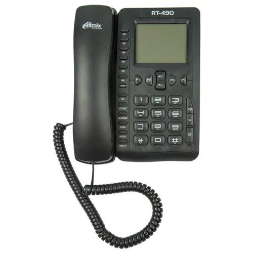 Телефон Ritmix RT-490 черныйПроводные телефоны<br>