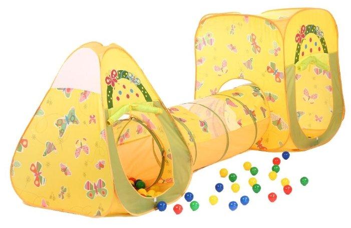 Домик Bony в комплекте с шариками Конус и Квадрат с туннелем LI524 85x85x100 D-48x180100 шаров