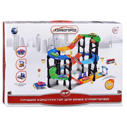 Купить TONG DE Комбогород T301-D2721 зеленый/красный/желтый/голубой/черный, Детские парковки и гаражи