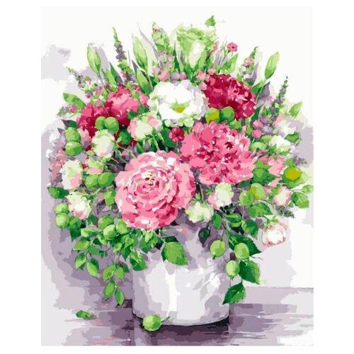 Купить Цветной Картина по номерам Яркие пионы с зелеными плодами в белой вазе 40х50 см (MG2060), Картины по номерам и контурам