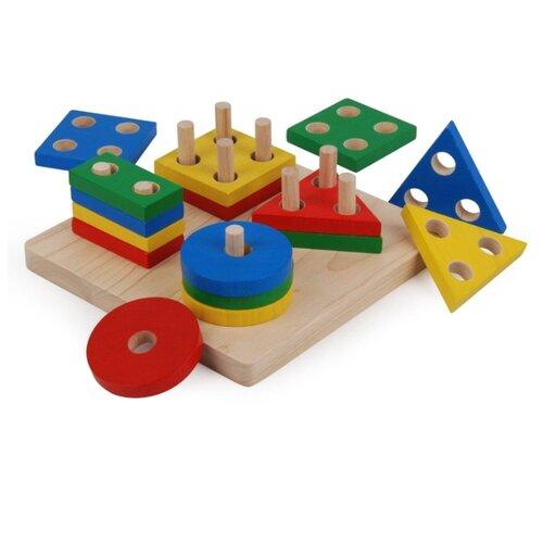 Купить Пирамидка-сортер PlanToys Доска с геометрическими фигурами 2403, Пирамидки