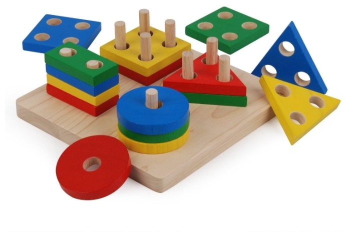 Пирамидка-сортер PlanToys Доска с геометрическими фигурами 2403