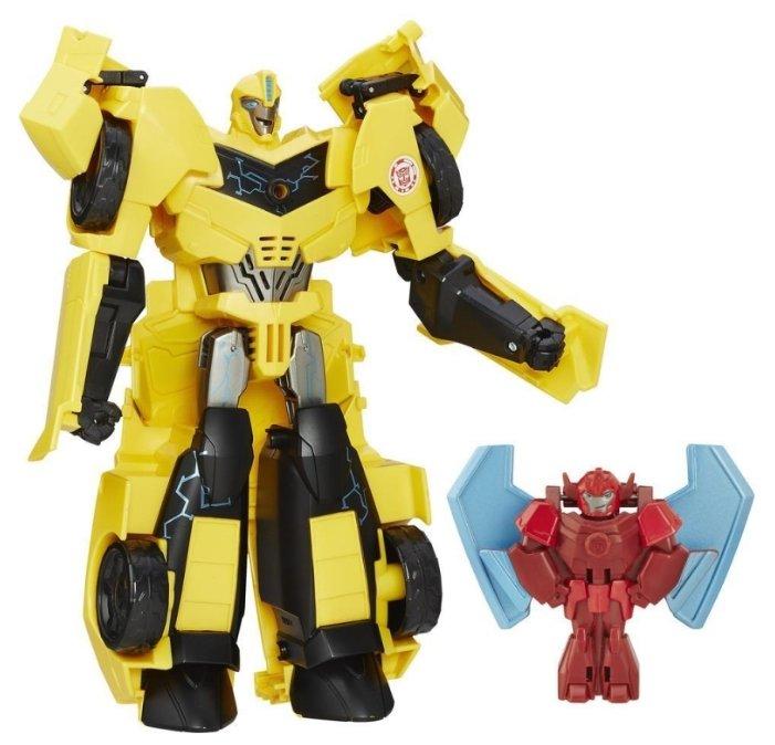 Интерактивная игрушка трансформер Hasbro Transformers Бамблби и Баззстрайк. Заряженные Герои (Роботы под прикрытием) B7069