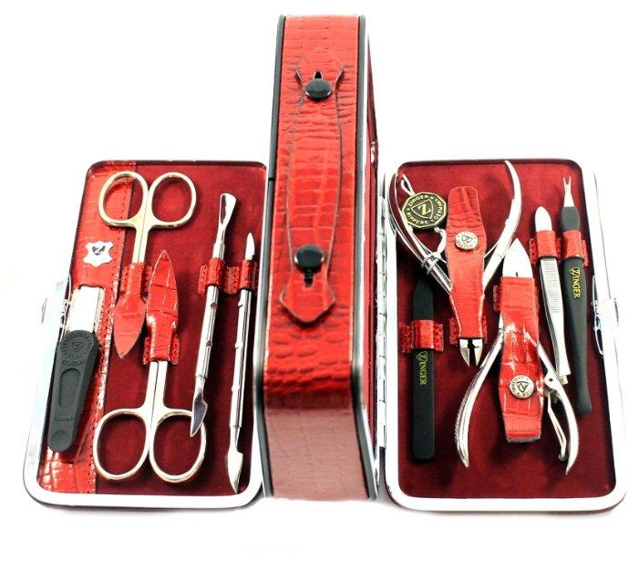 Маникюрный набор Zinger чемодан (10 металлических предметов), серебряный (295)