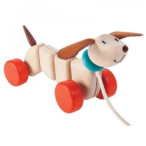 Купить Каталка-игрушка PlanToys Happy Puppy (5101) бежевый/оранжевый/коричневый, Каталки и качалки
