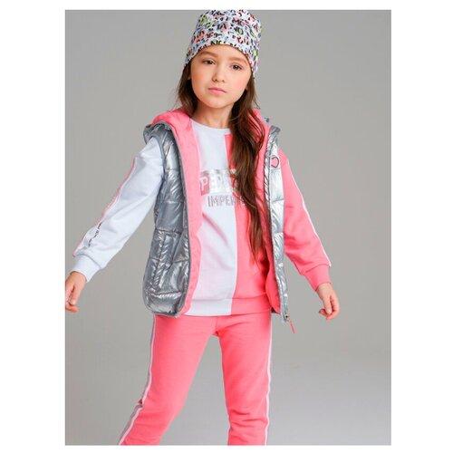 Жилет playToday Hype Kids Girls 120227007 размер 110, светло-серый/розовый