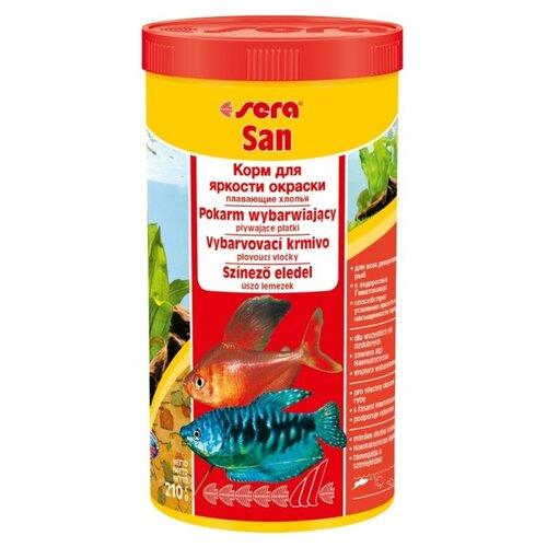 Сухой корм для рыб Sera Sera San для улучшения окраски 1000 мл 210 г sera sera fd mixpur корм для рыб сублимированный мотыль трубочник дафния криль 100 мл