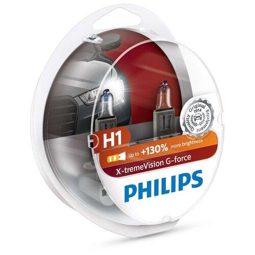Лампа автомобильная галогенная Philips X-tremeVision G-force 12258XVGS2 H1 12V 55W 2 шт. лампа галогенная philips h1 vision plus 12v 55w комплект 2шт 12258vps2