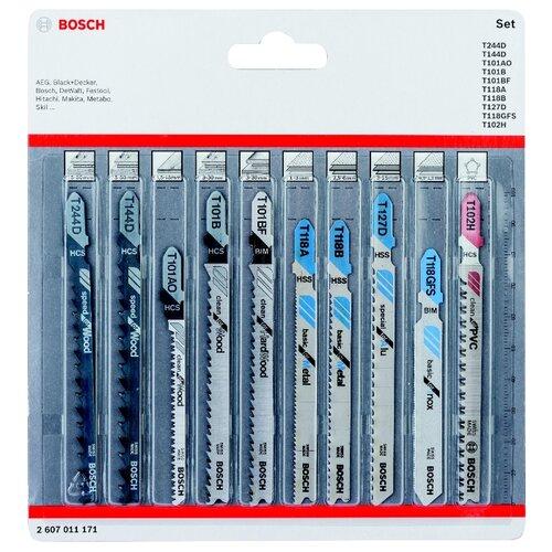 Набор пилок для лобзика BOSCH 2607011171 10 шт. набор фрез bosch s6мм 2607017465