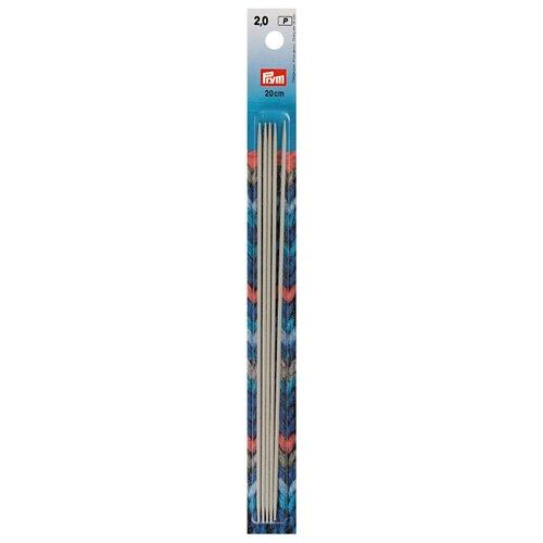Спицы Prym алюминиевые чулочные (5 шт), диаметр 2 мм, длина 20 см, жемчужно-серый запчасти quechua алюминиевые дуги 4 5 м ø 8 5 мм сегменты 30 см