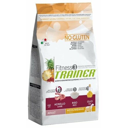 Корм для собак TRAINER (3 кг) Fitness3 No Gluten Adult Medium&Maxi Lamb and Rice dry сухой корм trainer fitness3 no gluten mini adult lamb