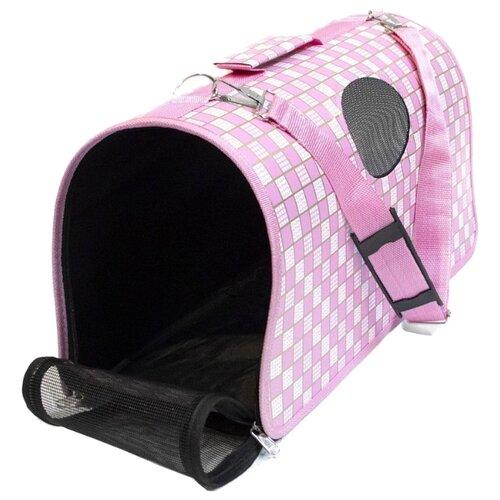 Сумка-переноска для кошек Удачная покупка P0016-L 52х22х29 см белый/розовый