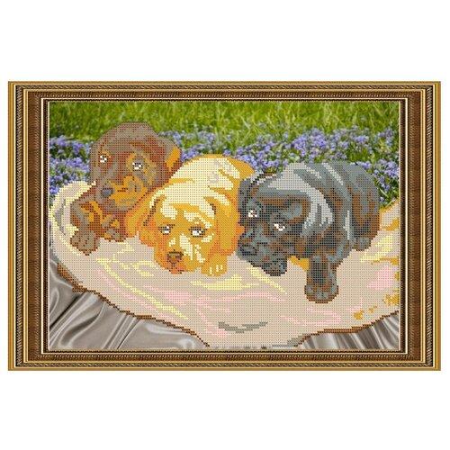 Светлица Набор для вышивания бисером Три щеночка 34 х 22,8 см (060)