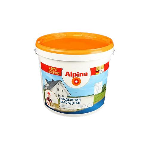 Фото - Краска Alpina Надежная фасадная влагостойкая матовая белый 12 л краска акриловая alpina долговечная фасадная влагостойкая матовая бесцветный 2 35 л