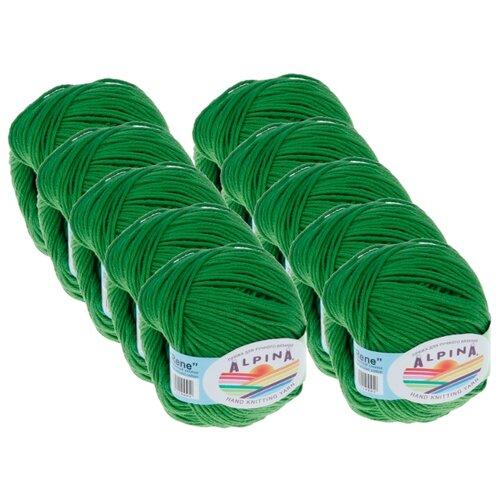Пряжа Alpina Rene, 100 % хлопок, 50 г, 105 м, 10 шт., №156 зеленый  - купить со скидкой