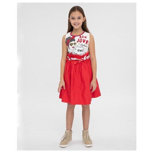 Платье Gulliver размер 146, белый/красный