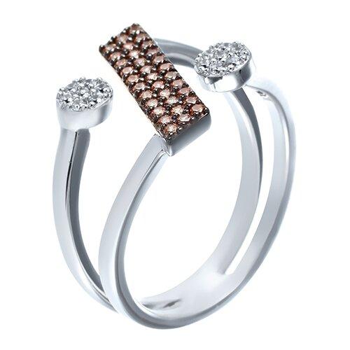 ELEMENT47 Широкое ювелирное кольцо из серебра 925 пробы с кубическим цирконием MR14391124M0Y_KO_001_WG, размер 17.25