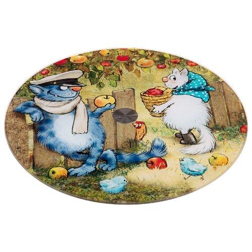 Фото - Тортовница вращающаяся синие коты диаметр 32 см Agness (357-179) тортовница agness вращающаяся озорные коты d 32 см h 3 см 357 156