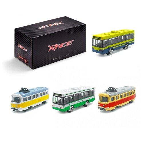 Детский игровой набор металлических машинок Serinity Toys, Общественный транспорт, салатовый