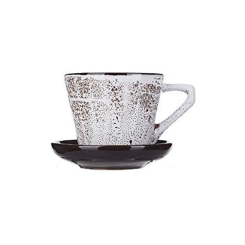 Фото - Чайная пара Борисовская керамика Тирамису, 200 мл, белый/черный чайная пара mercury 150 мл керамика