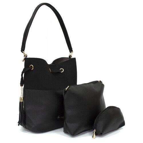 Сумка хобо Kingth Goldn, искусственная кожа, черный сумка хобо amo la vita jk 92bwc 005 искусственная кожа