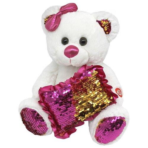 Мягкая игрушка Пушистые друзья Медвежонок с пайетками 23 см