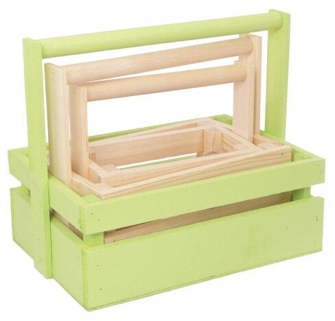 Ящик Дарите счастье набор 3 в 1 с шильдиком и ручкой Весенняя палитра 30×21×26 см