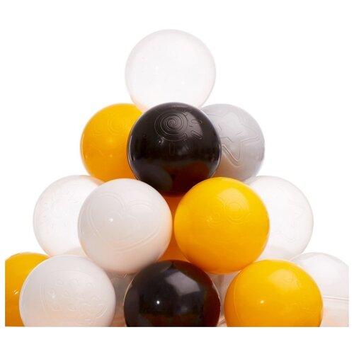 Шарики для сухого бассейна Соломон 150 шт, цвета: желтый, серый, белый, черный, прозрачный