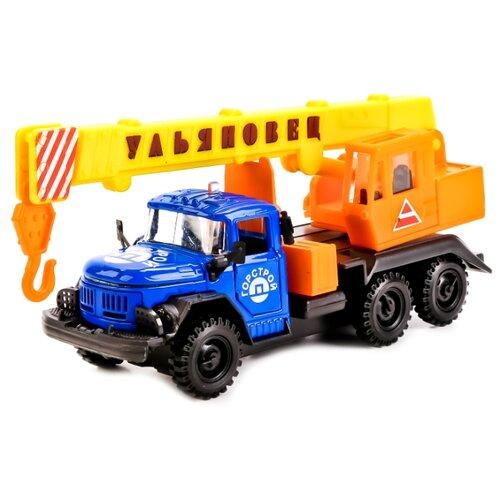 Купить Автокран ТЕХНОПАРК ЗИЛ-131 Ульяновец Горстрой 1:43 22 см оранжевый/синий, Машинки и техника