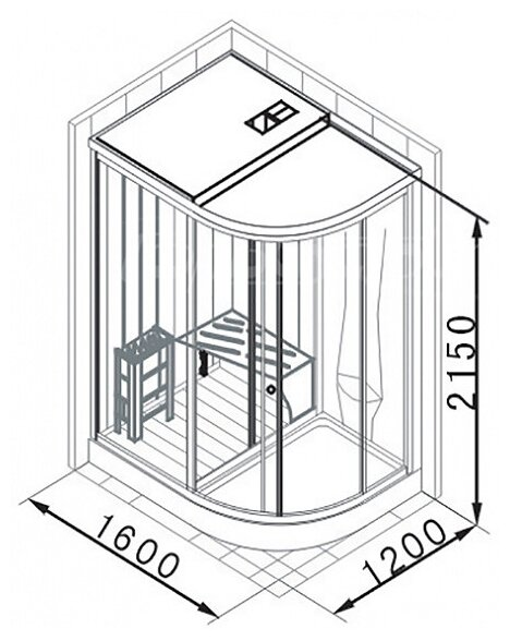Душевая кабина APPOLLO AG-0203 низкий поддон 160см*120см
