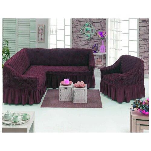 Чехлы на угловой диван и кресло, цвет: темно-сиреневый