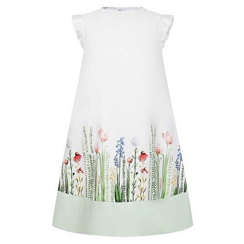 Платье Il Gufo размер 92, белый/зеленый