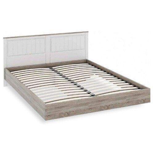 Кровать ТриЯ Прованс двуспальная, размер (ДхШ): 209х170 см, спальное место (ДхШ): 200х160 см, каркас: ЛДСП, цвет: дуб сонома трюфель, кремовый
