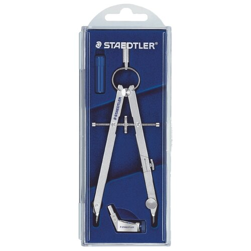 Купить Staedtler Готовальня Mars Comfort 551 3 предмета (551 01) синий/серебристый, Чертежные инструменты