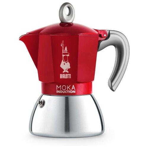 Гейзерная кофеварка Bialetti New Moka Induction (6 чашек), красный