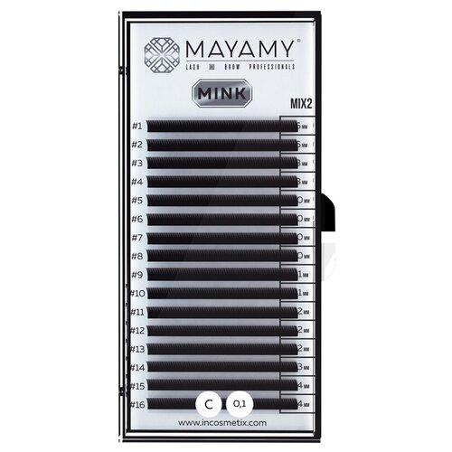 Innovator Cosmetics Ресницы MAYAMY MINK 16 линий С-изгиб 0.10 мм MIX 2 черный i beauty ресницы premium mink 16 линий 12 мм с изгиб 0 20 мм черный