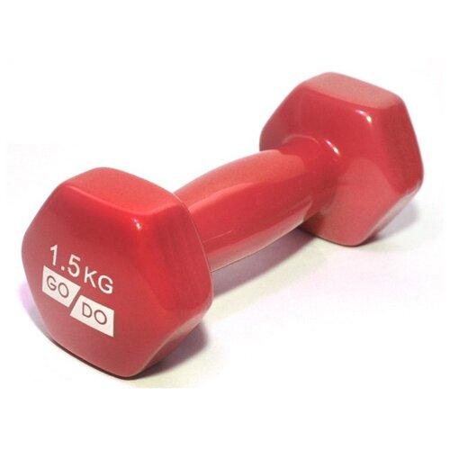 Гантель цельнолитая Go Do в виниловой оболочке 1.5 кг красный