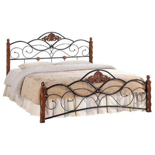 Кровать TetChair CANZONA двуспальная, размер (ДхШ): 210х143 см, спальное место (ДхШ): 200х140 см, каркас: массив дерева, цвет: черный/красный дуб