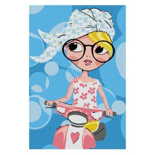 Котеин Картина по номерам Девочка на скутере 20х30 см (KHM0025)
