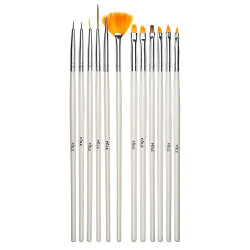 Набор кистей для дизайна (12 шт) Pole белый
