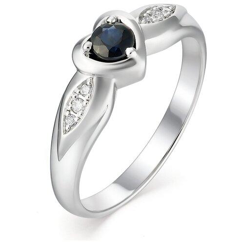 АЛЬКОР Кольцо Сердце с сапфиром и бриллиантами из белого золота 12976-202, размер 18 алькор кольцо с сапфиром и бриллиантами из белого золота 13288 202 размер 18 5